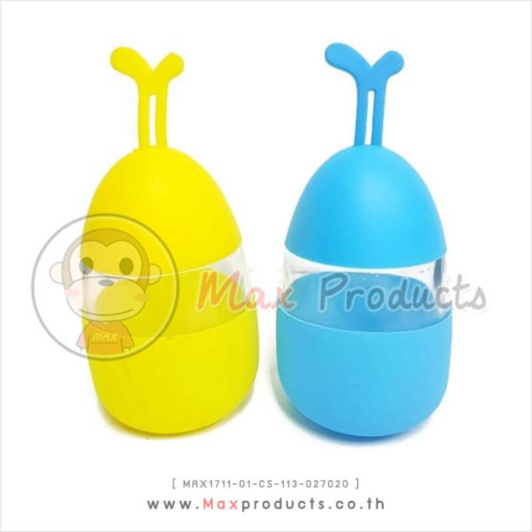 กระบอกน้ำแก้ว พรีเมี่ยม ทรงไข่ หุ้มซิลิโคนหัวท้าย มีหูหิ้วปลายขวด MAX1711-01-CS-113-027020