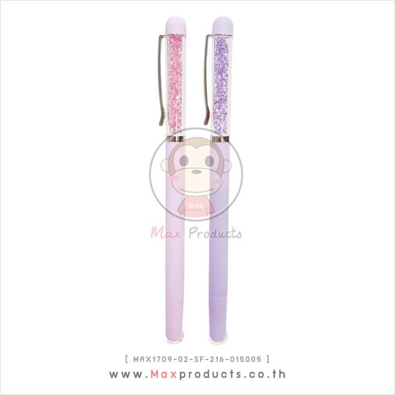 ปากกาหมึกเจล พรีเมี่ยม ดีเทลคริสตัล คลิปเงิน สีพาสเทล MAX1709-02-SF-216-015005