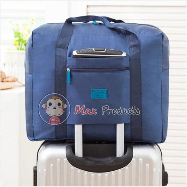 กระเป๋าเดินทาง พรีเมี่ยม รุ่น ป้ายยาง เสียบคันชักได้ สี กรม ภาพที่ 1