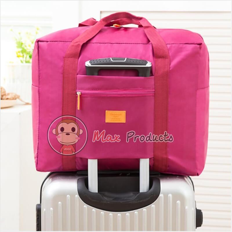 กระเป๋าเดินทาง พรีเมี่ยม รุ่น ป้ายยาง เสียบคันชักได้ สี ชมพู ภาพที่ 1