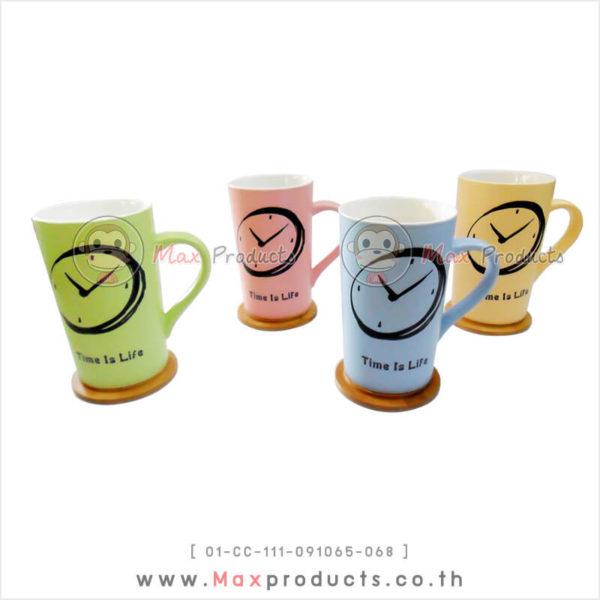แก้วเซรามิค พรีเมี่ยม ลายนาฬิกา ฝาไม้เป็นได้ทั้งปิดแก้ว+จานรองแก้ว