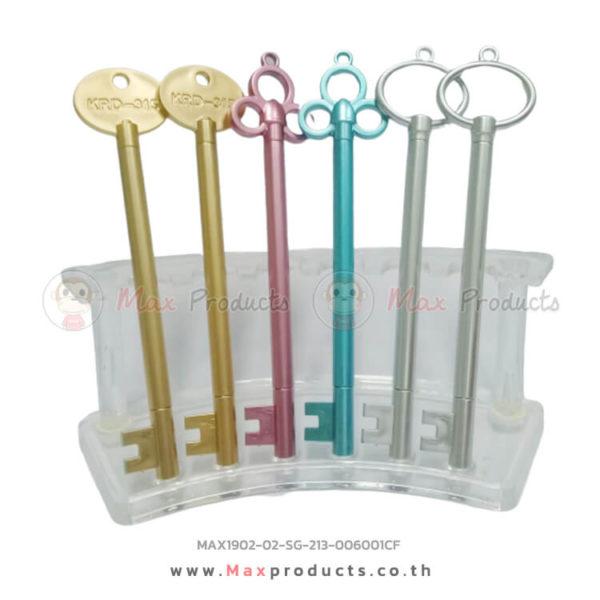 ปากกาเจล ทรงพวงกุญแจ สี ทอง ชมพู ฟ้า เงิน 006001CF